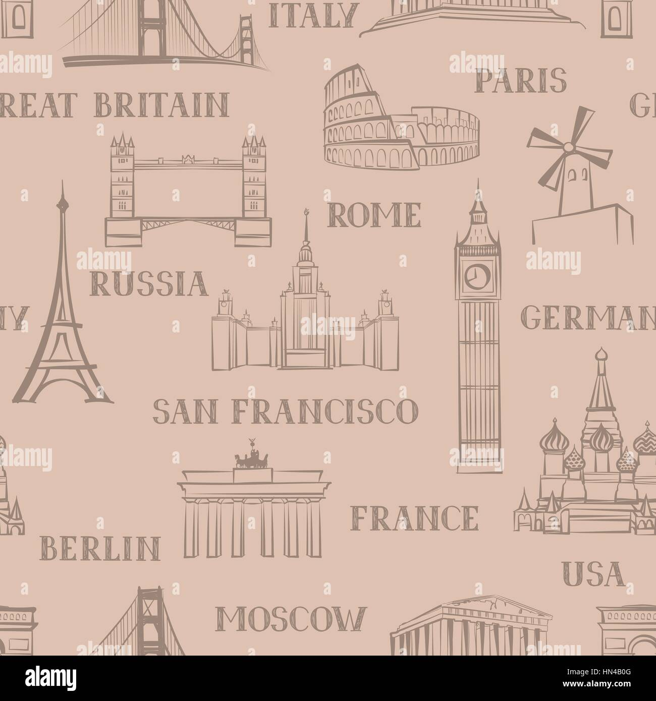 Travel Seamless Pattern Vacation In Europe Wallpaper To Visit Famous Places Of The World Background Landmark Tiled Grunge