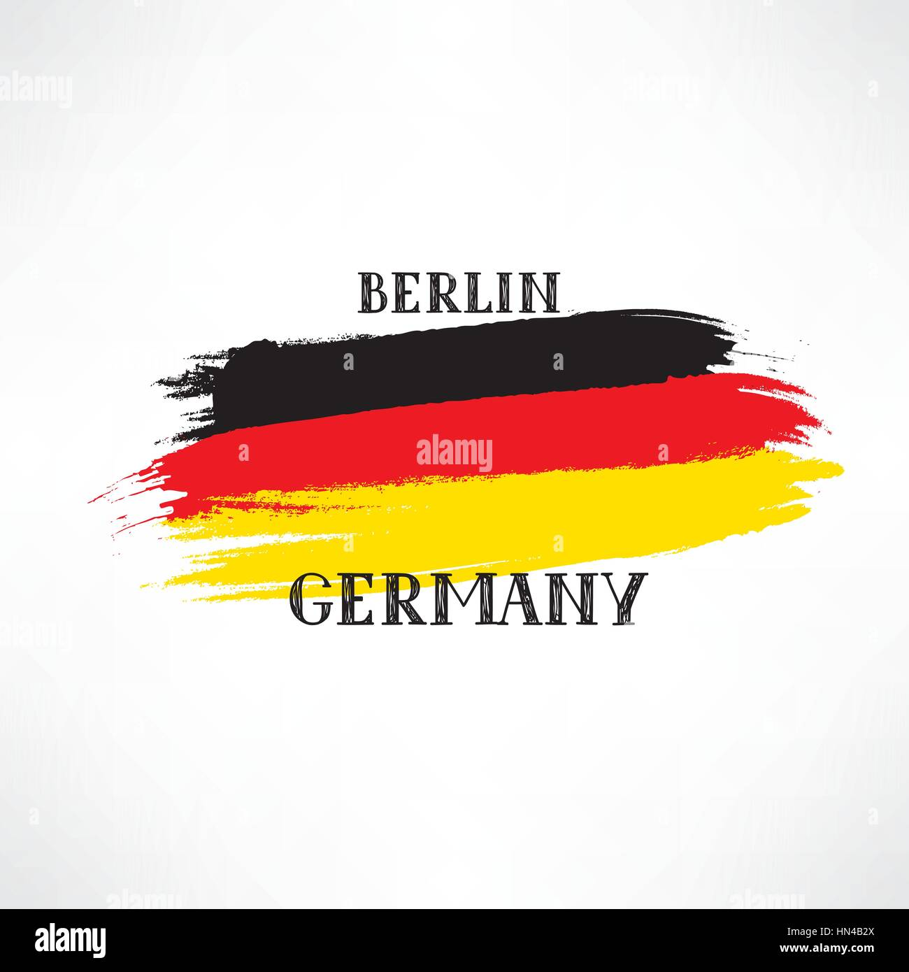 Grunge painted German Flag Sketch with hand drawn lettering. Tavel Germany sign isolated on white vector illustration - Stock Vector
