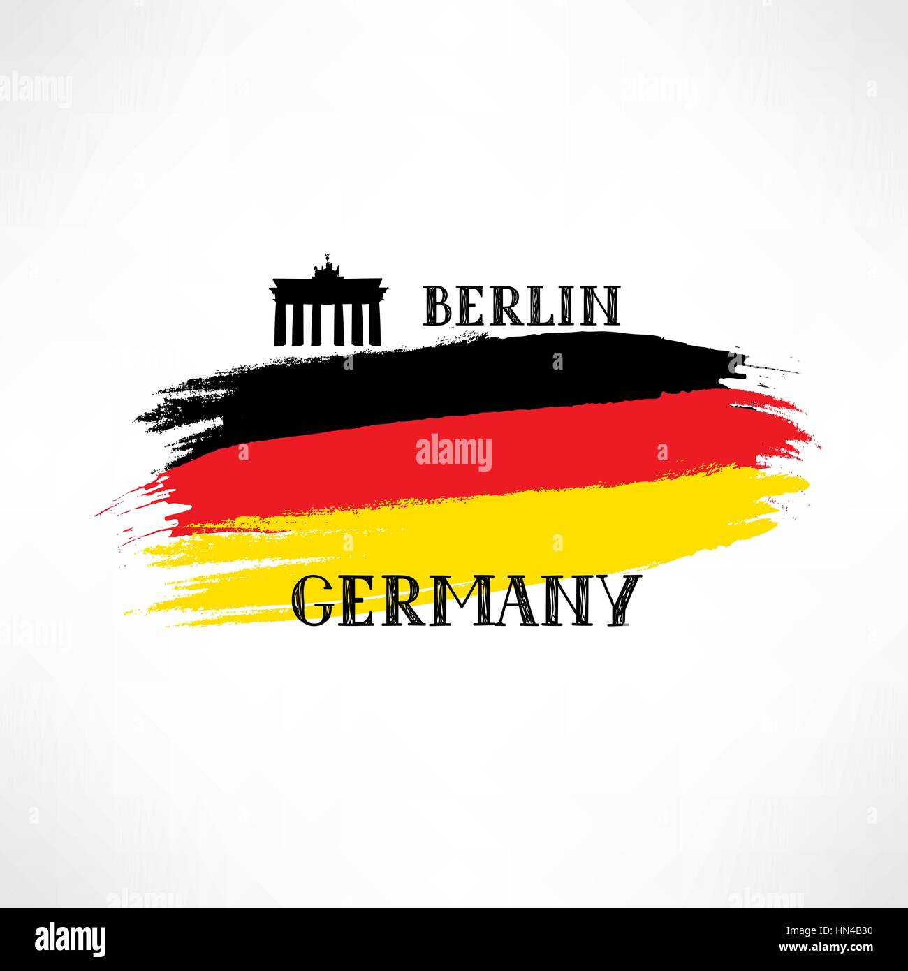 Grunge painted German Flag Sketch with hand drawn lettering and Brandenburger Gate. Tavel Berlin  Germany sign isolated - Stock Vector