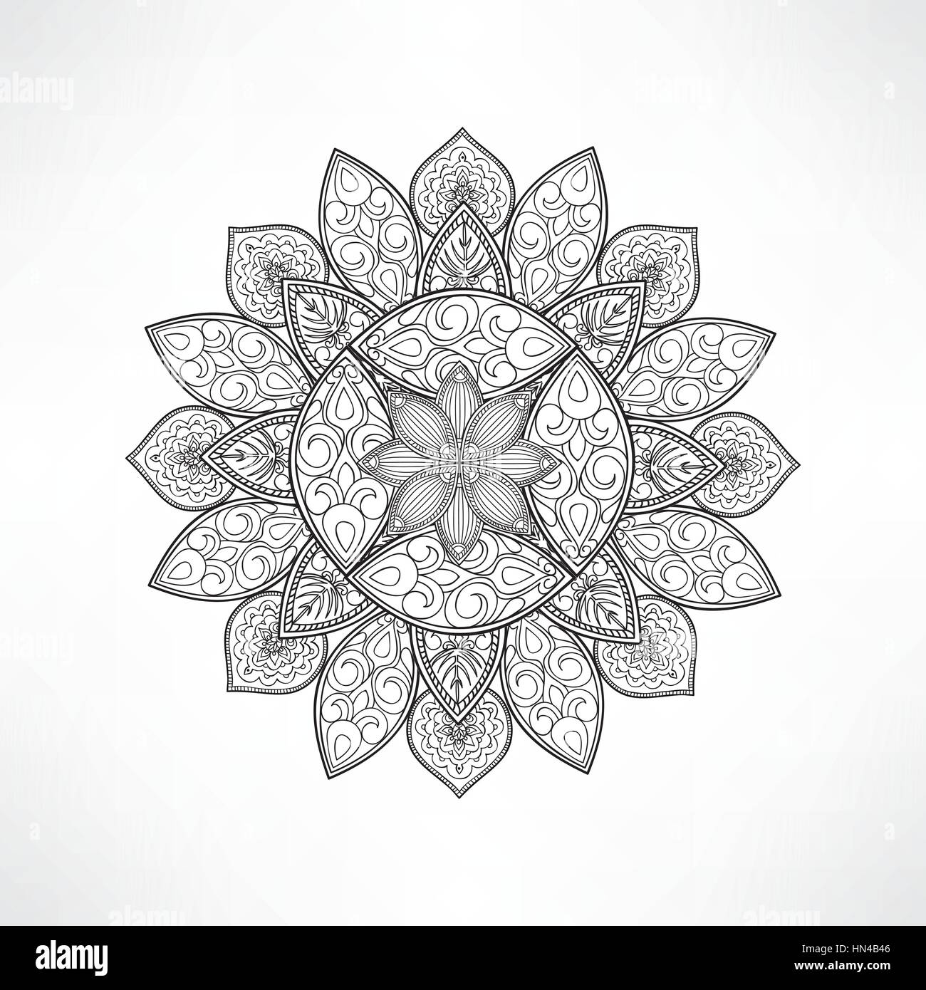 Geometric Flower Mandala For Coloring Vector Page Art Design Intricate Pattern Unusual Tattoo Outline Ma