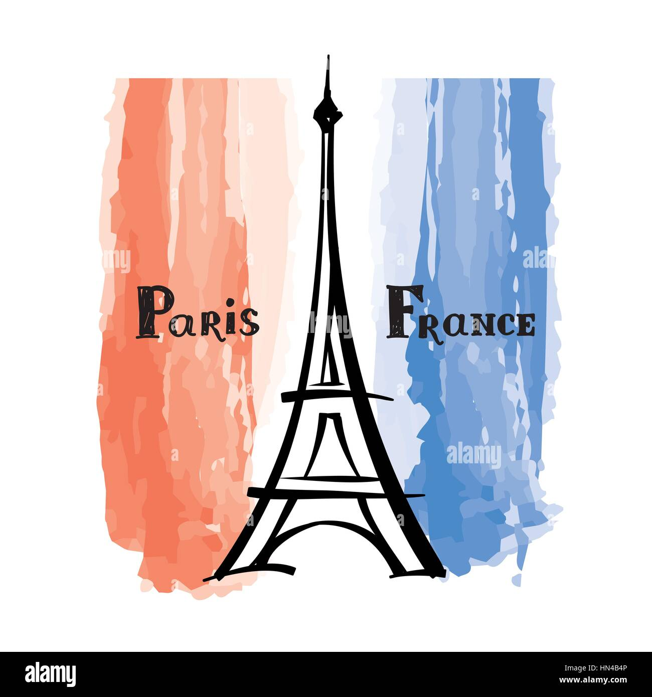 Travel France label Paris famous building Eiffel tower French flag with Paris landmark Grunge painted France flag - Stock Vector