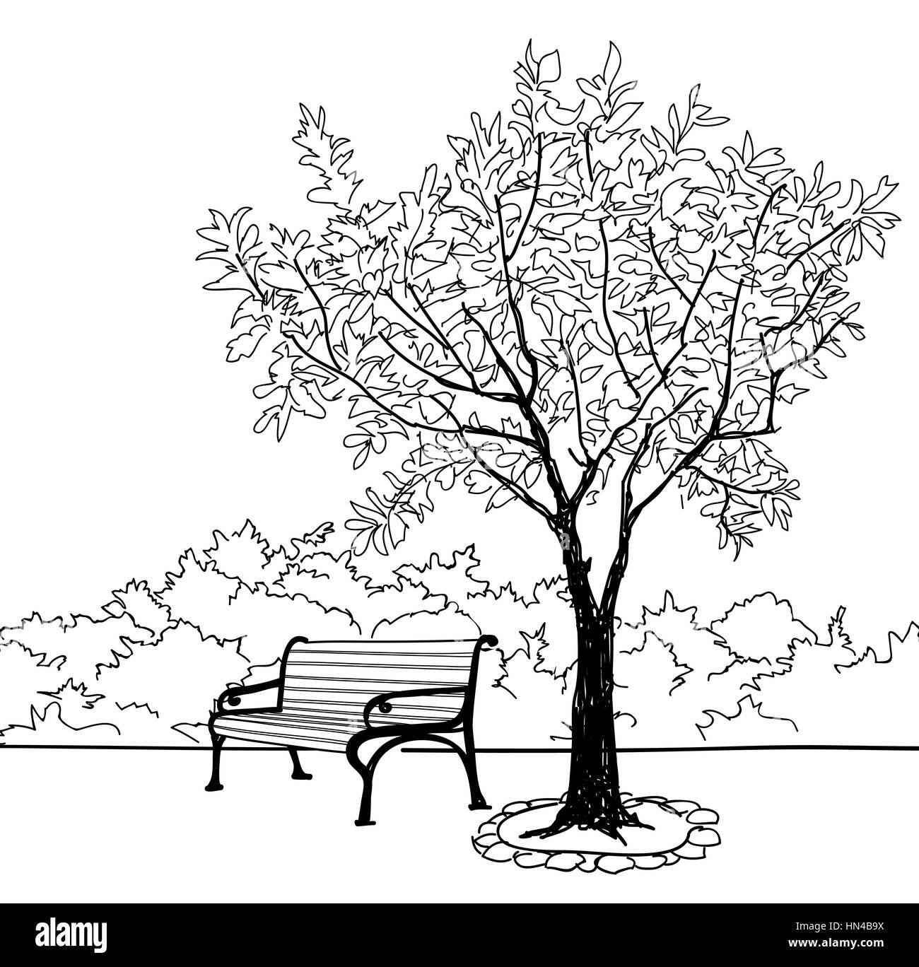 Bench in city park. Trees and plants. Landscape with bench. Doodle landscape vector illustration Stock Vector
