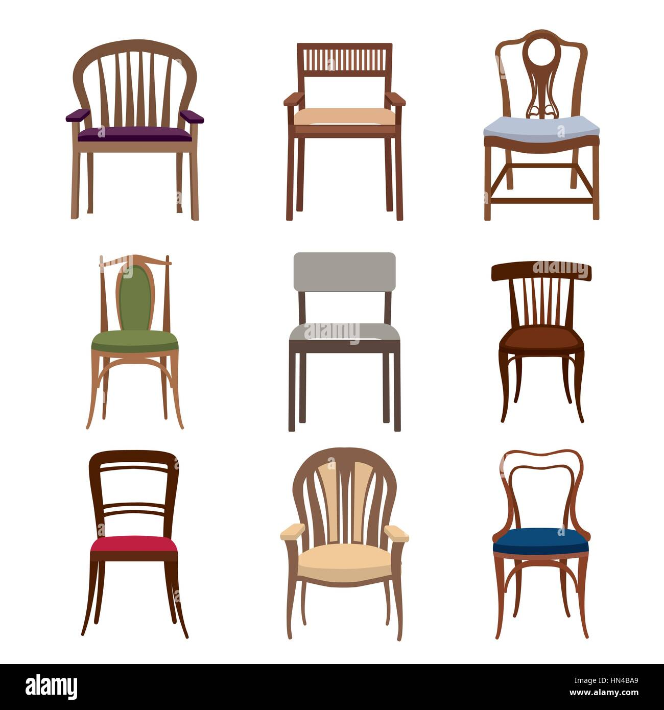 Exceptionnel Chairs And Armchairs Icons Set. Furniture Collection Of Different Chairs In  Flat Style.
