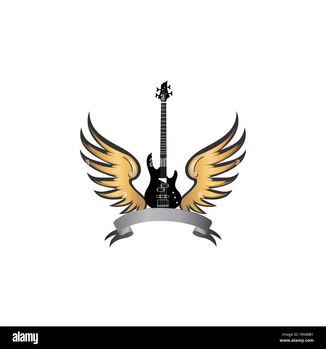 Rock music symbol. Electric guitar with wings. Winged guitar with ribbon for band or festival name. Vintage vector - Stock Image