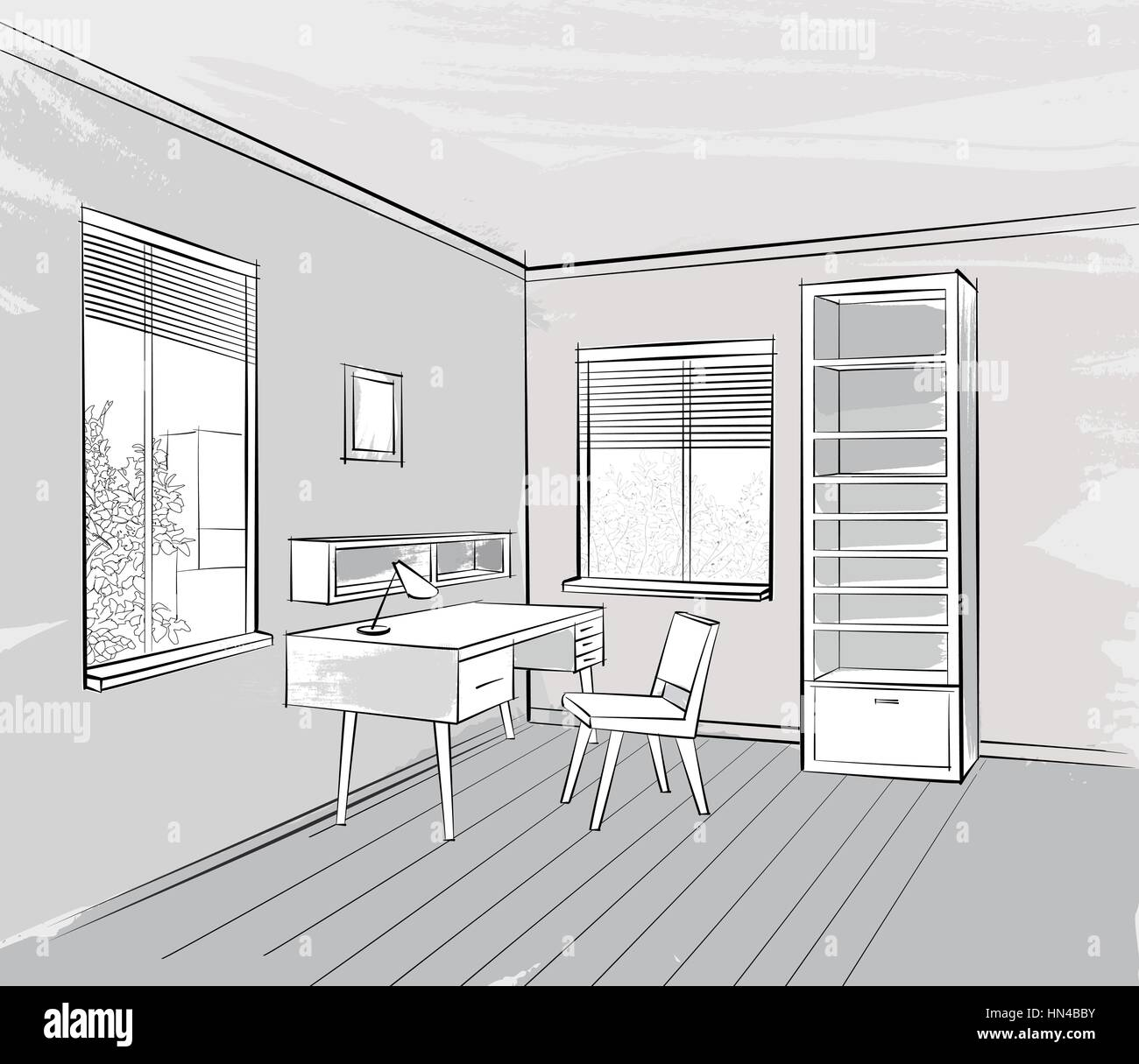Sketch of interior. Beautiful room. Cabinet room furniture - Stock Vector