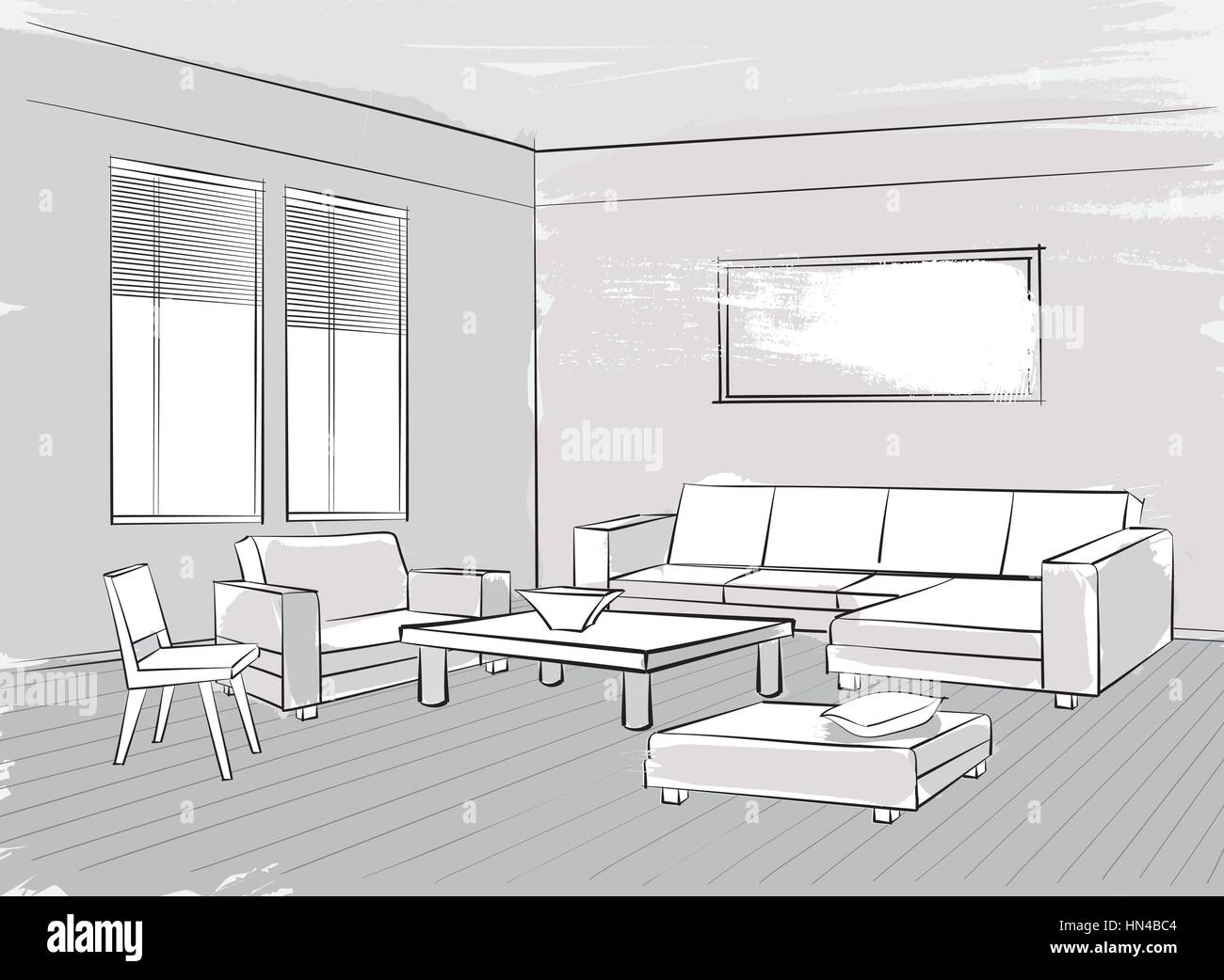 Sketch of interior. Beautiful room. Living room furniture - Stock Vector