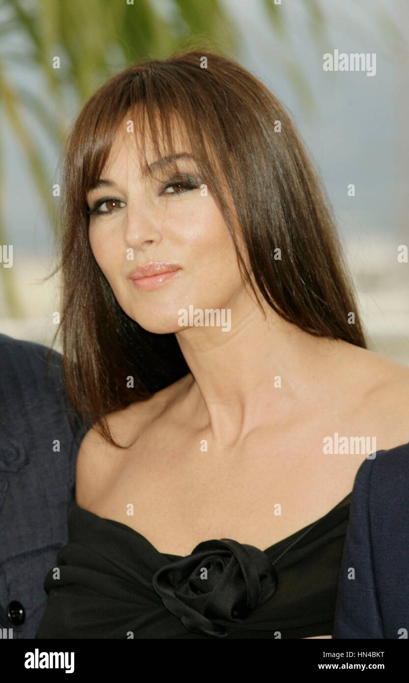 Actress Monica Bellucci  attends the photocall for Une Histoire Italienne at the Palais des Festivals during the Stock Photo