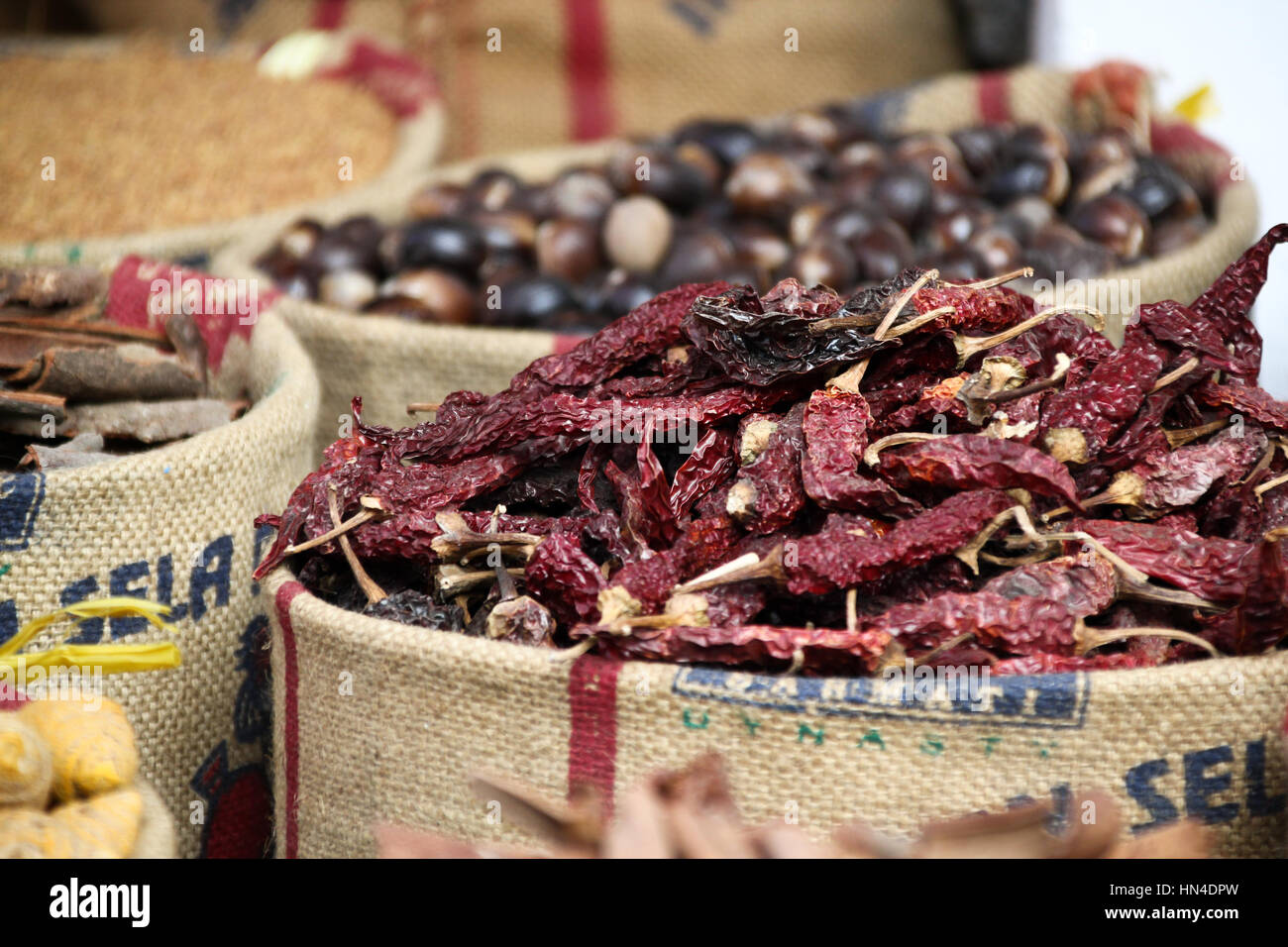 Sacks of fresh spices on sale in Cochin, Kerala. - Stock Image