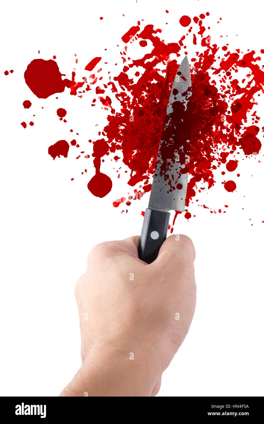hand hold knife isolated on white, halloween bloody murder or death crime killer violation concept. - Stock Image