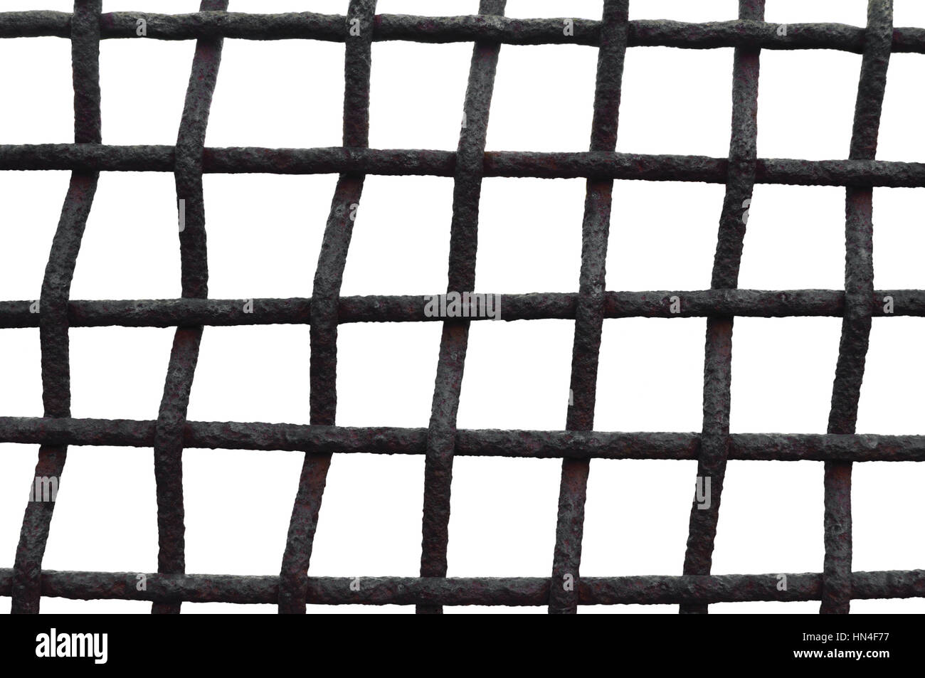 Old Aged Weathered Rusty Grid Cage Fence Iron Grating, Isolated Grungy Horizontal Large Detailed Macro Closeup, Stock Photo