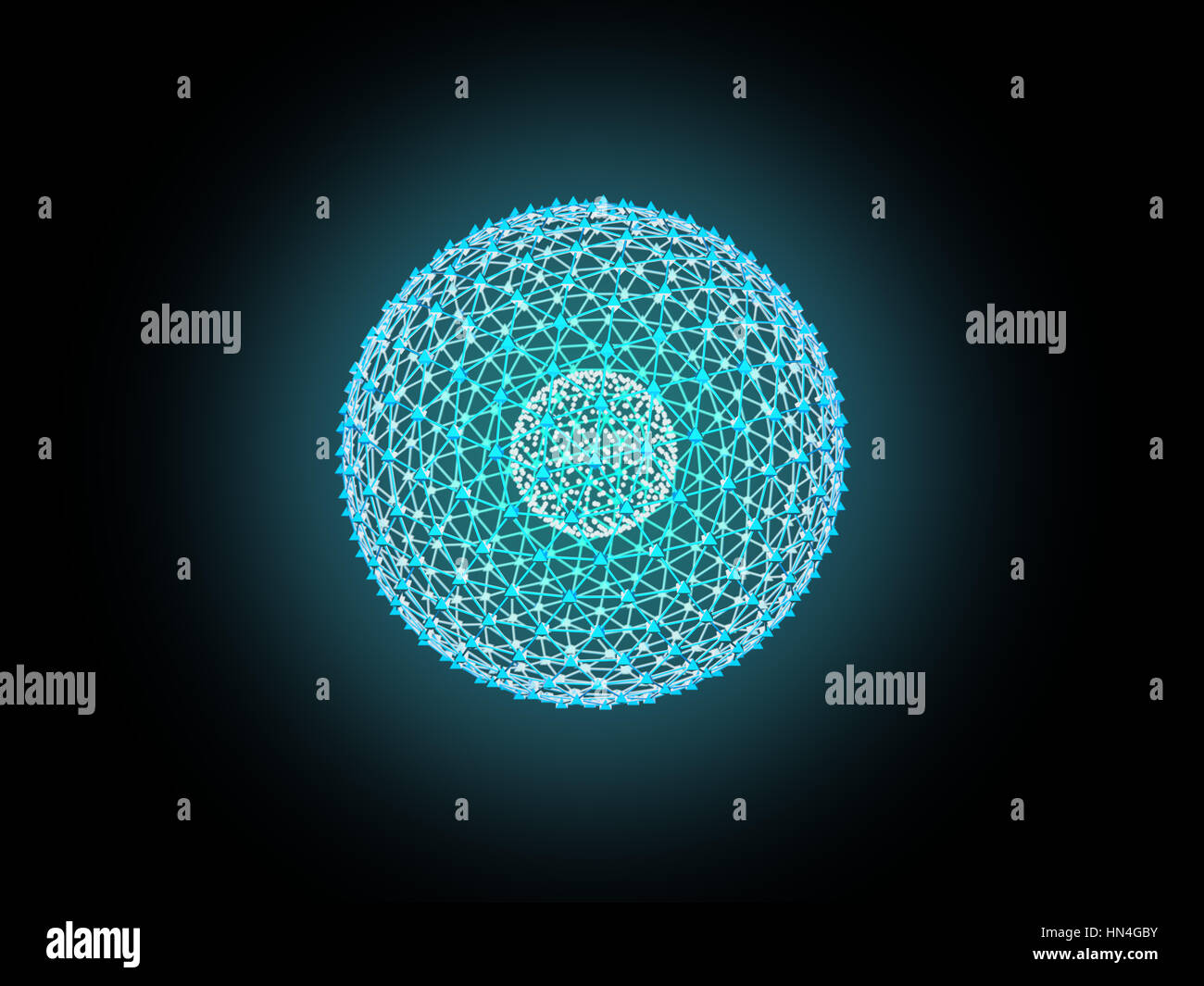 Nucleus of Atom Nuclear explode ray radiation light science 3D Illustration abstract blur background. - Stock Image