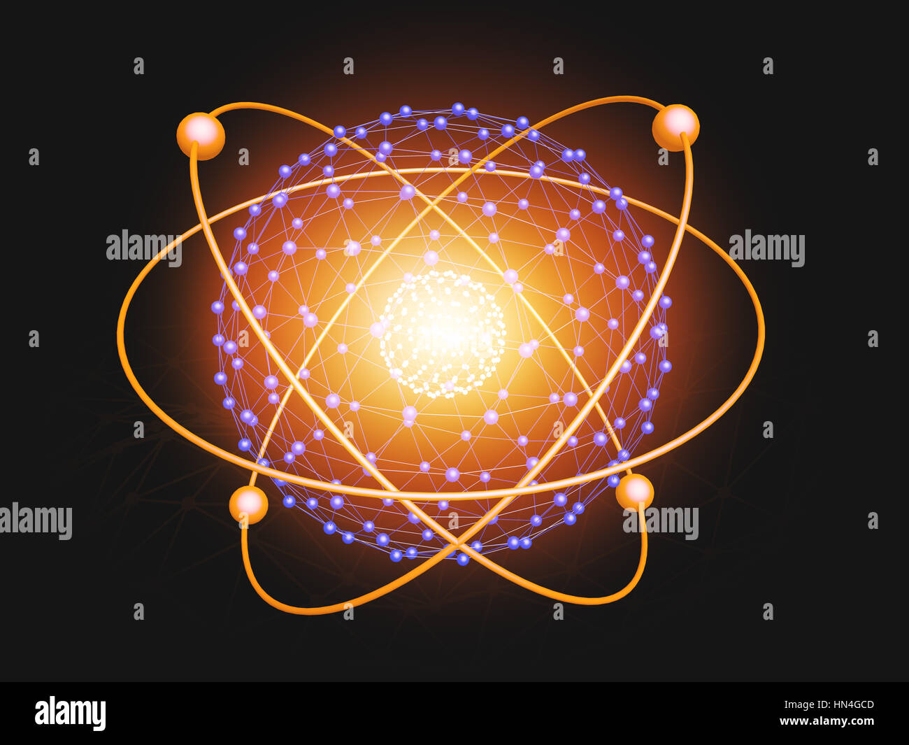 Nucleus of Atom Nuclear explode ray radiation light science abstract blur background. - Stock Image