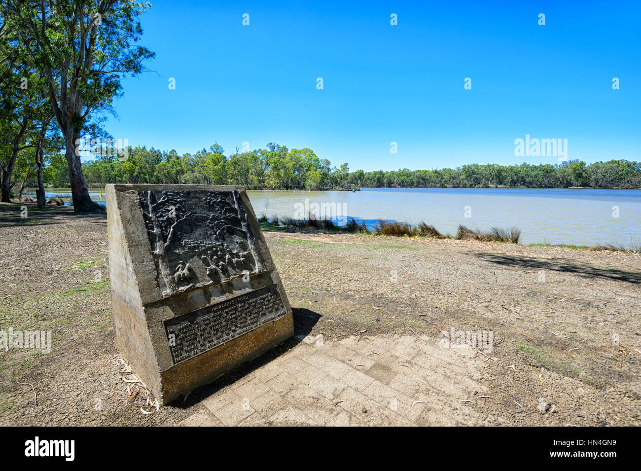 Hawdon's Ford Memorial for the 1838 cattle crossing at the junction of the Darling and Murray rivers, Wentworth, - Stock Image