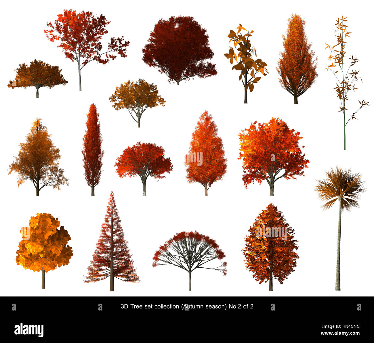 Red Leaf Tree Autumn Season Set For Architecture Landscape Design, 3D Tree  Isolated On White