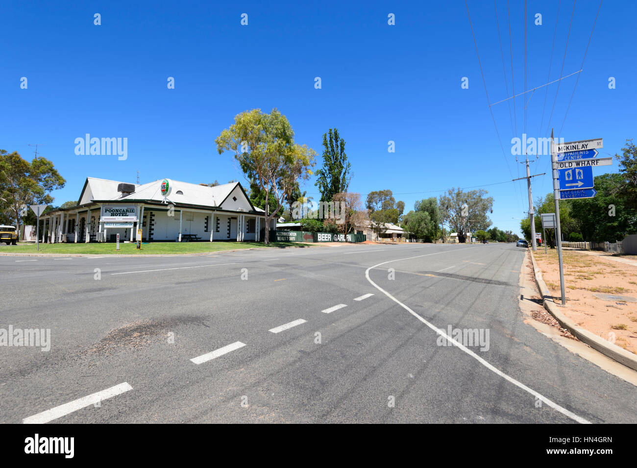Street Scene of the remote town of Pooncarie, New South Wales, Australia - Stock Image