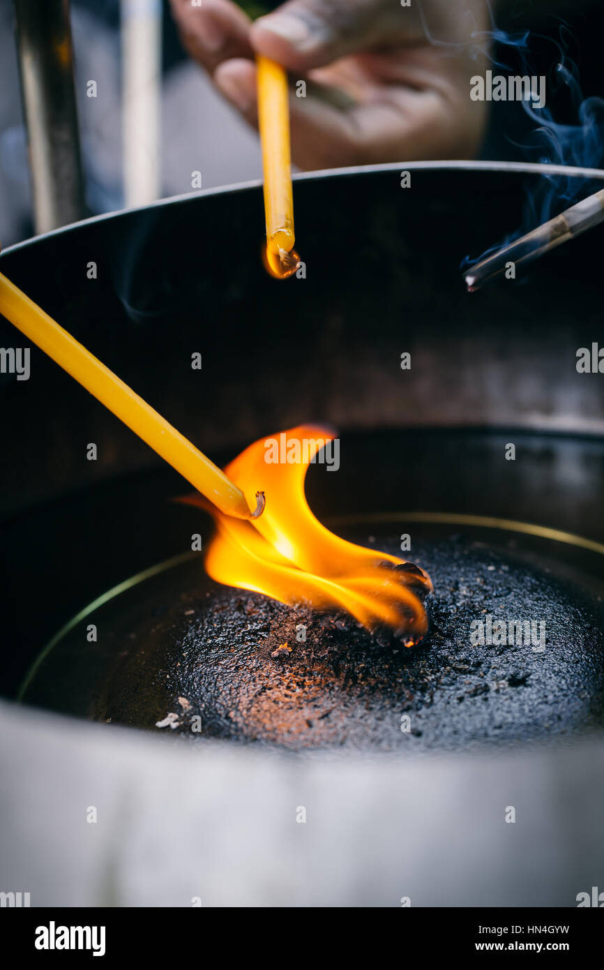 Incense Sticks Or Joss Stick Burn With Oil Lamps For Pay Respect To Stock Photo Alamy