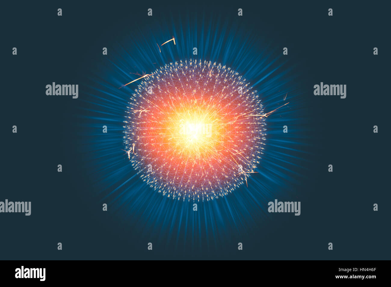 CG model structure form of Nucleus Atom Nuclear explode bomb emit x-ray radiation or light injection of magnetic - Stock Image