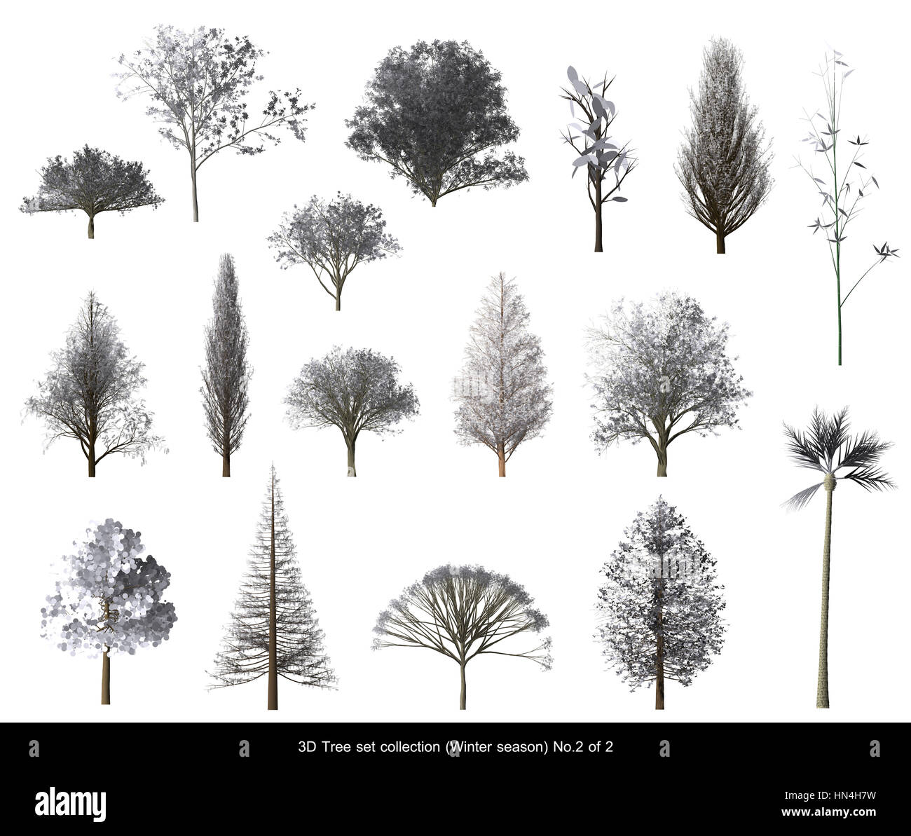 White Leaf Snow Tree Winter Season Set For Architecture Landscape Design,  3D Tree Isolated On
