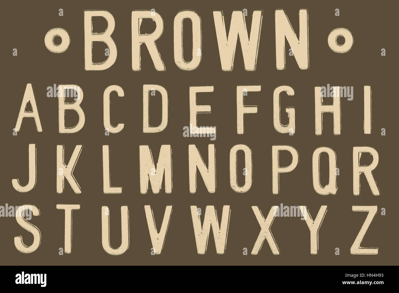 Brown Font, Retro style font face or Font type letter A to Z - Stock Image