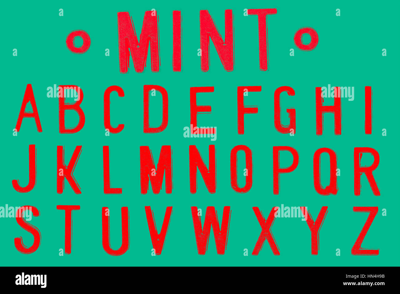 Mint Font, Retro style font face or Font type letter A to Z - Stock Image