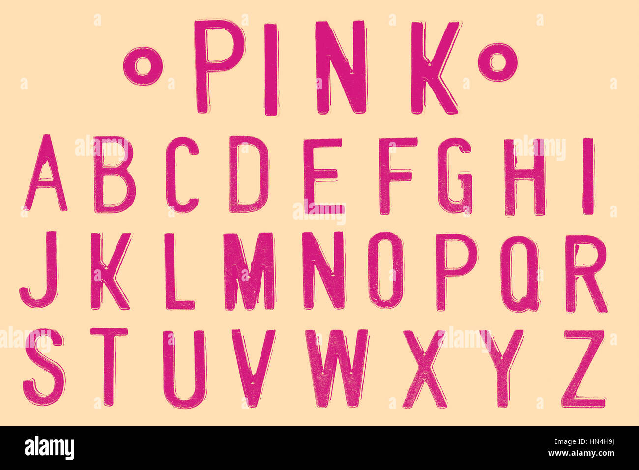 Pink Font, Retro style font face or Font type letter A to Z - Stock Image