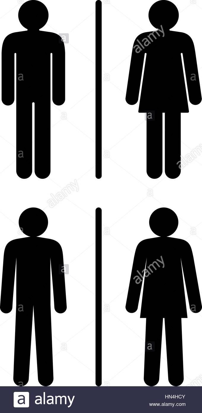 . Restroom Signs  Vector Illustration Of Two Different Style Restroom