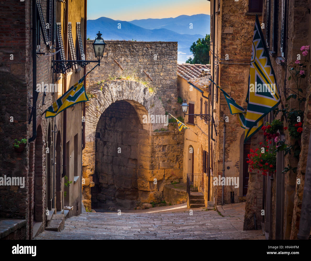 Volterra, known to the ancient Etruscans as Velathri, to the Romans as Volaterrae, is a town and comune in the Tuscany - Stock Image