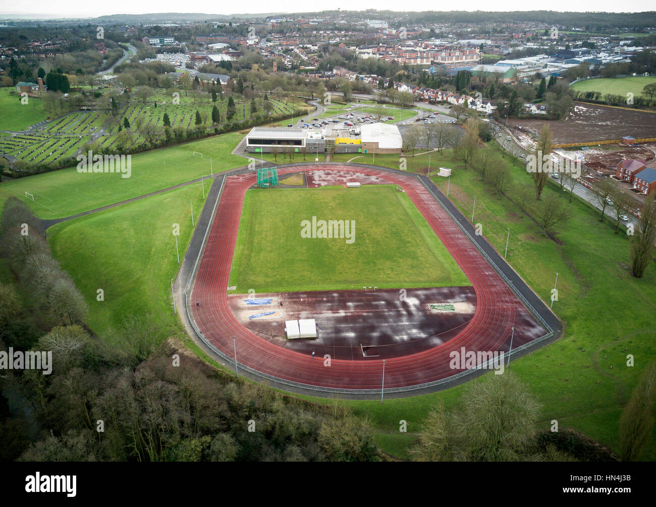 The Abbey Stadium athletics track in the Worcestershire town of Redditch, UK. - Stock Image