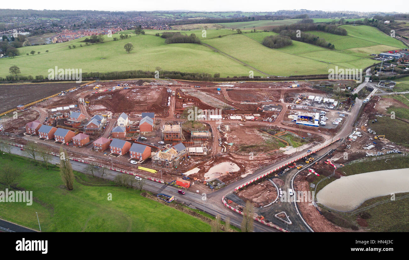 New houses being built on the edge of the countryside at Redditch, in the UK. Stock Photo