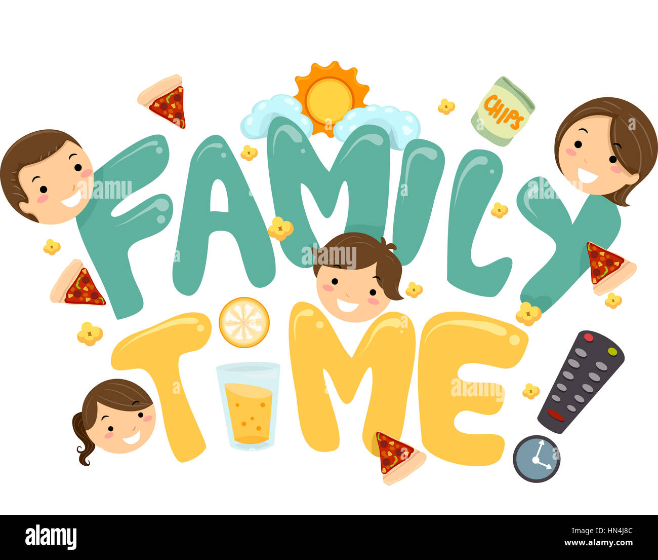Illustration of a Family TV Time Lettering - Stock Image