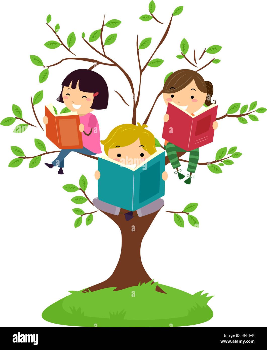 stickman illustration of kids reading books while sitting