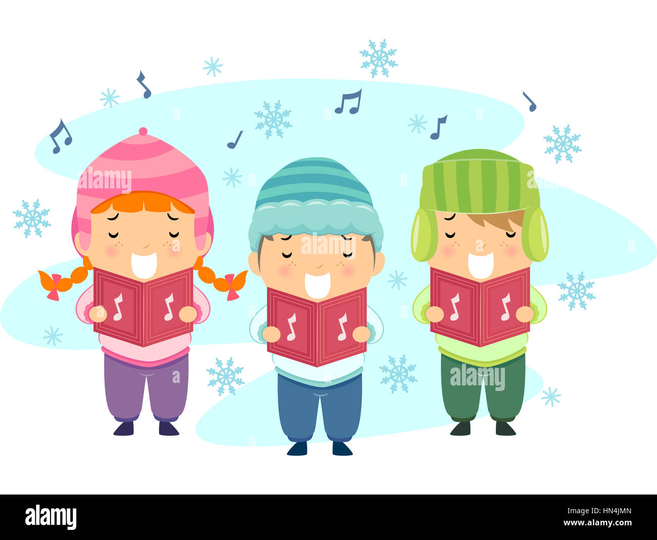 Stickman Illustration Featuring Kids Singing Christmas Carols Stock ...