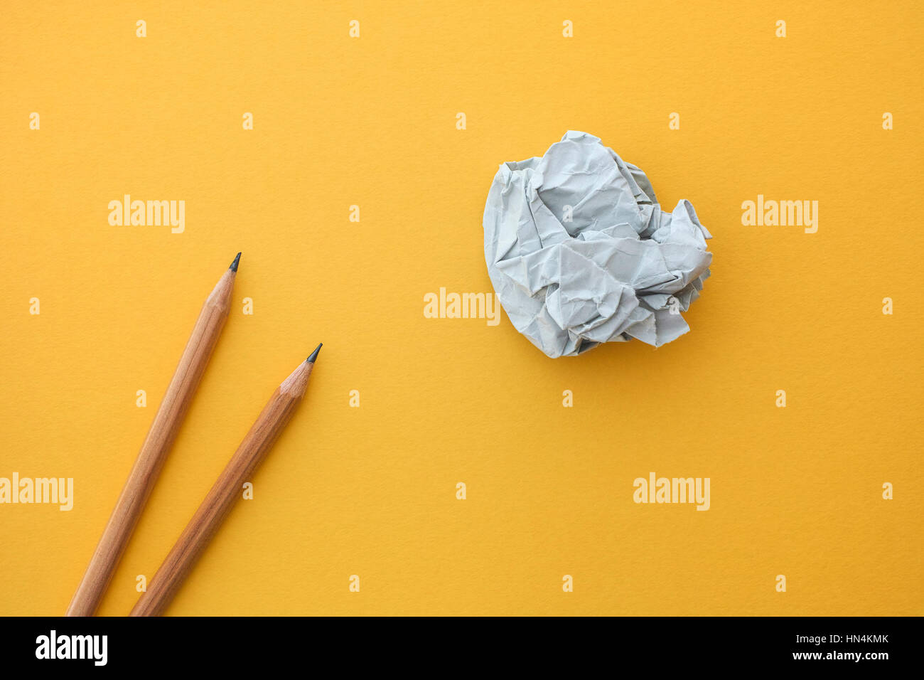 Two pencils and paper ball. Idea Concept. - Stock Image