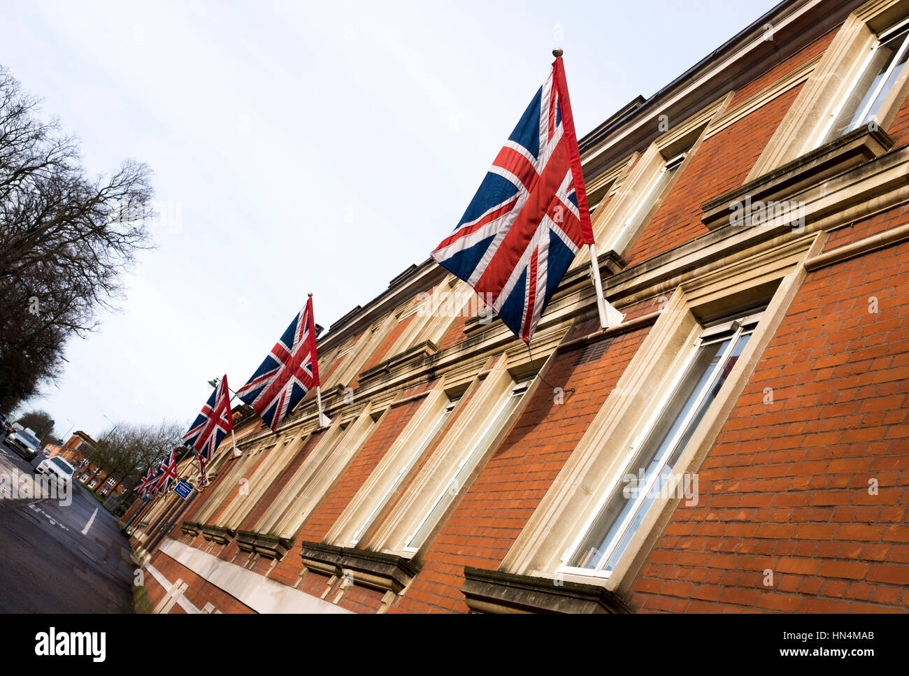 Union Flags outside Ascot Racecourse in Berkshire UK  February 2017 - Stock Image