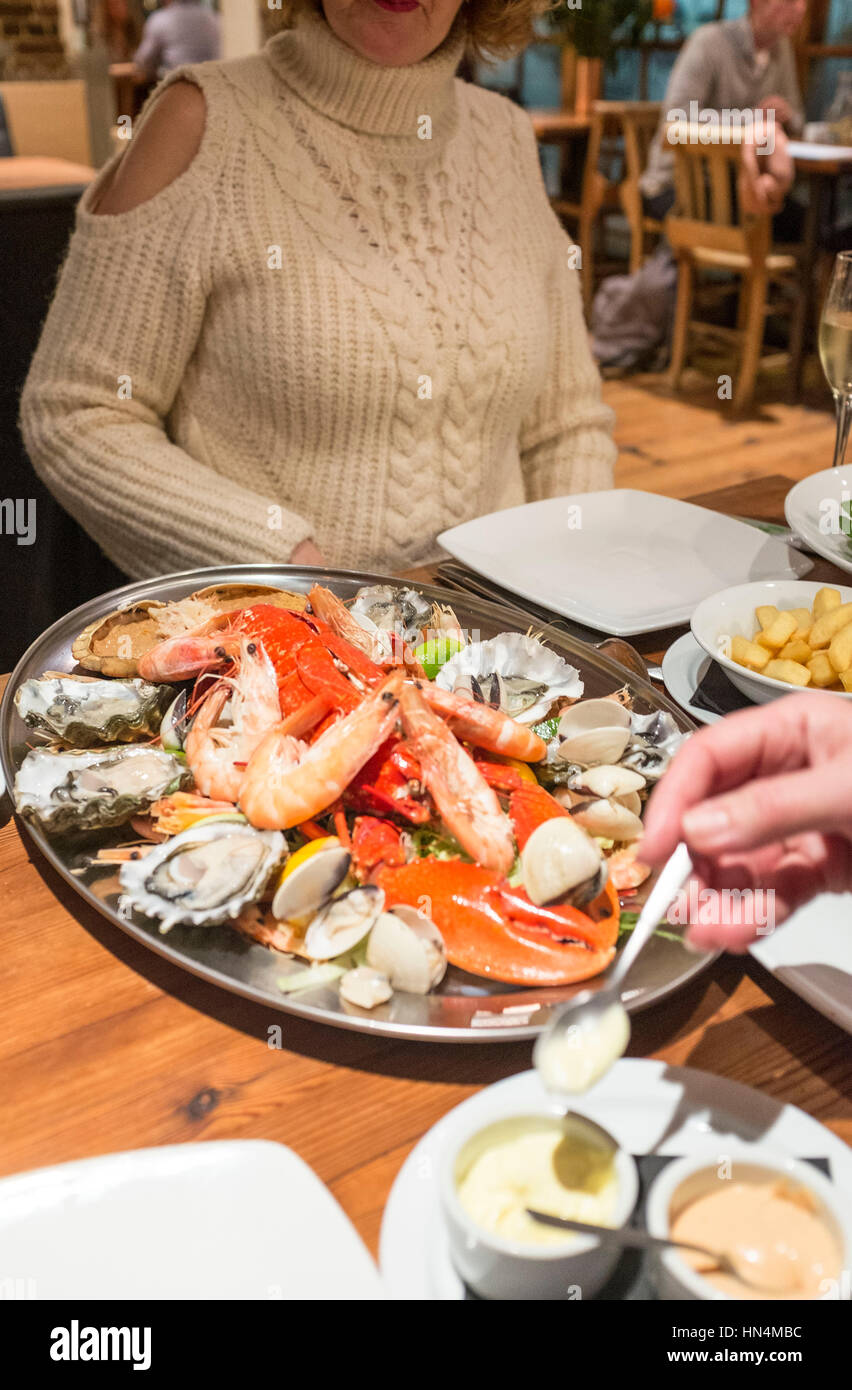 Cold seafood shellfish platter with lobster and crab at The Copper Clam restaurant on Brighton seafront UK Stock Photo