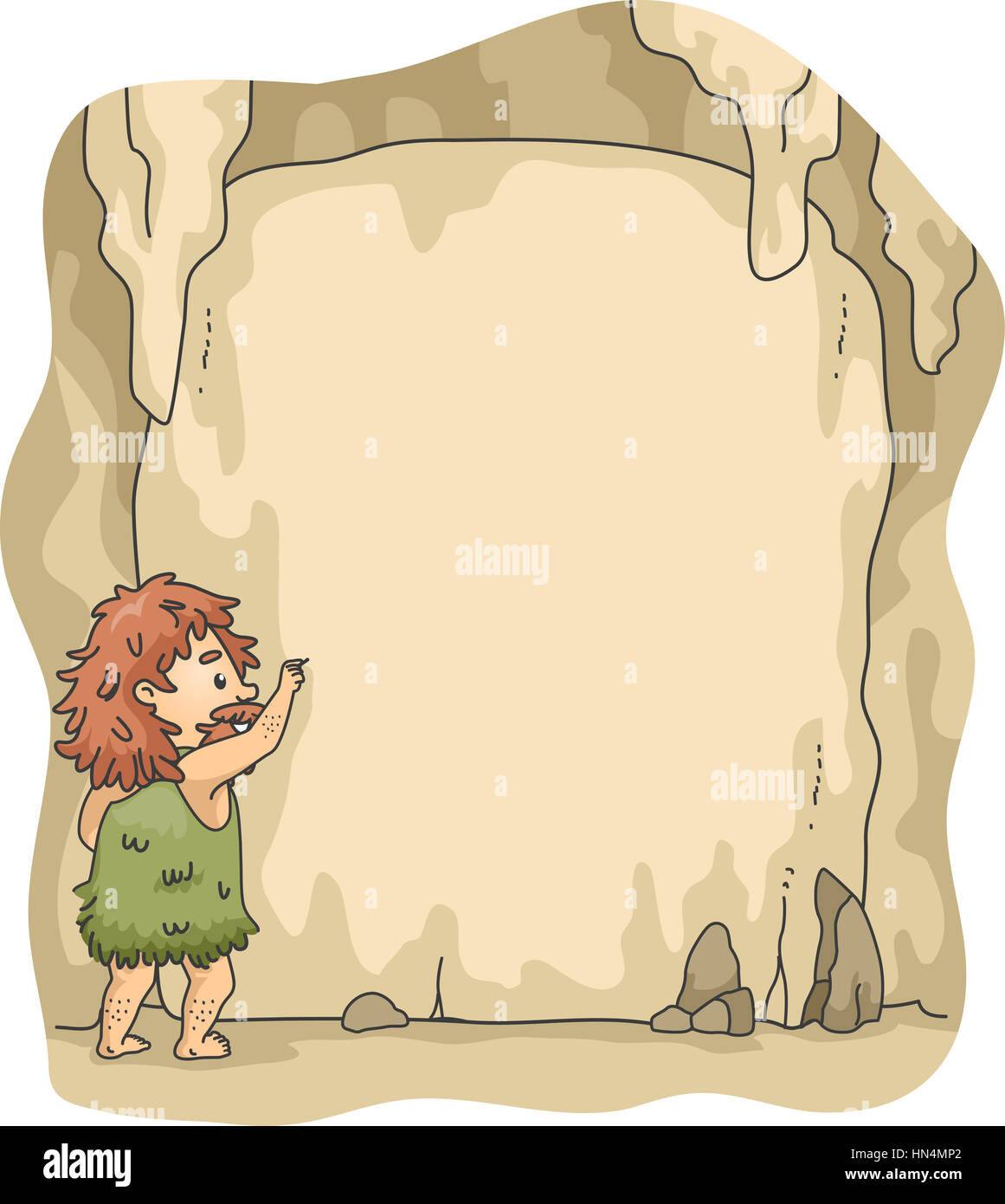 Frame Illustration of a Caveman Writing on Cave Walls Stock Photo ...