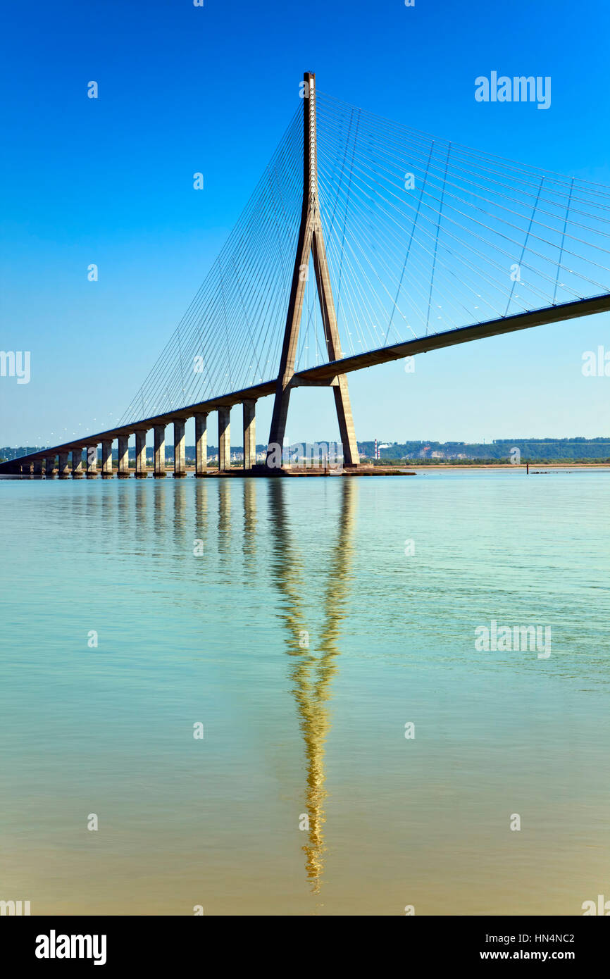 The Pont de Normandie is a cable-stayed bridge spanning the Seine river, It connects Le Havre to Honfleur in Normandy, - Stock Image