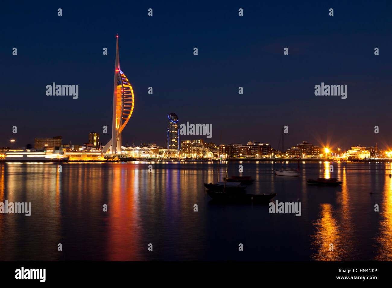 Portsmouth, Hampshire, UK - May 14, 2014: Waterfront of Portsmouth with Spinnaker Tower and docklands at night Stock Photo