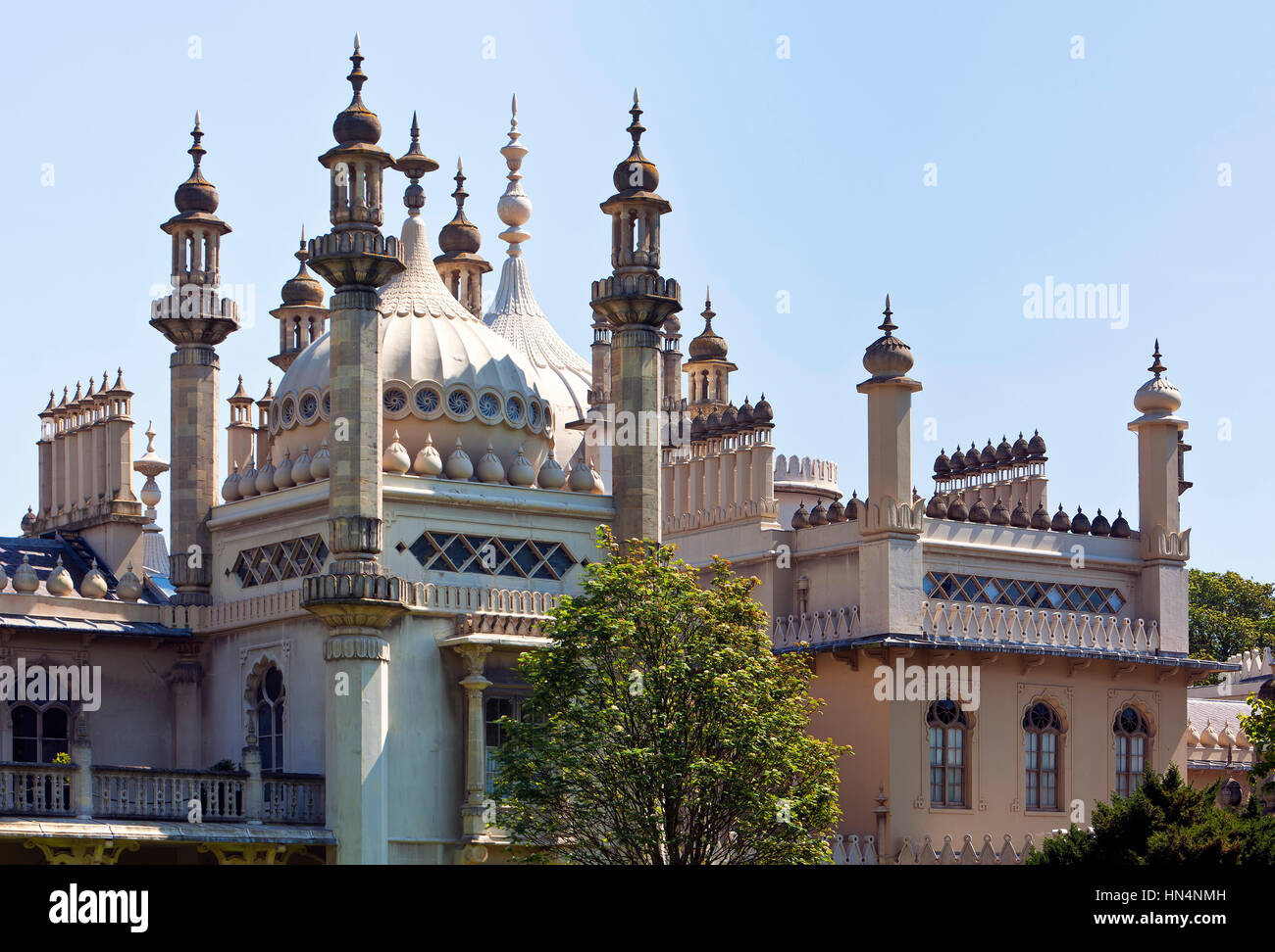 Brighton, East Sussex, UK - May 16, 2014: Domes and spires of the Royal Pavilion at Brighton. Designer John Nash - Stock Image