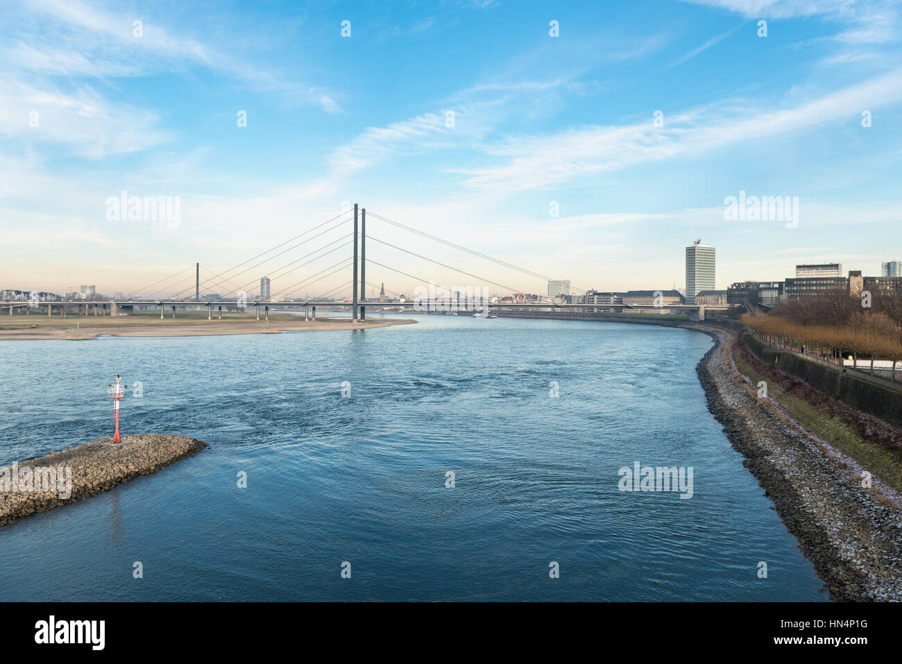DUESSELDORF, GERMANY - JANUARY 20, 2017: From one of the skywalks in the new media harbor one has a spectacular - Stock Image