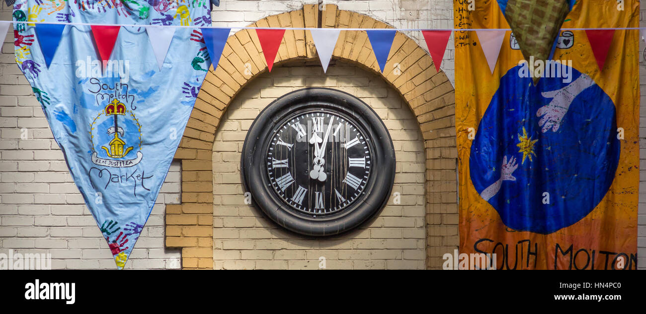 South Molton Country Market clock - Stock Image