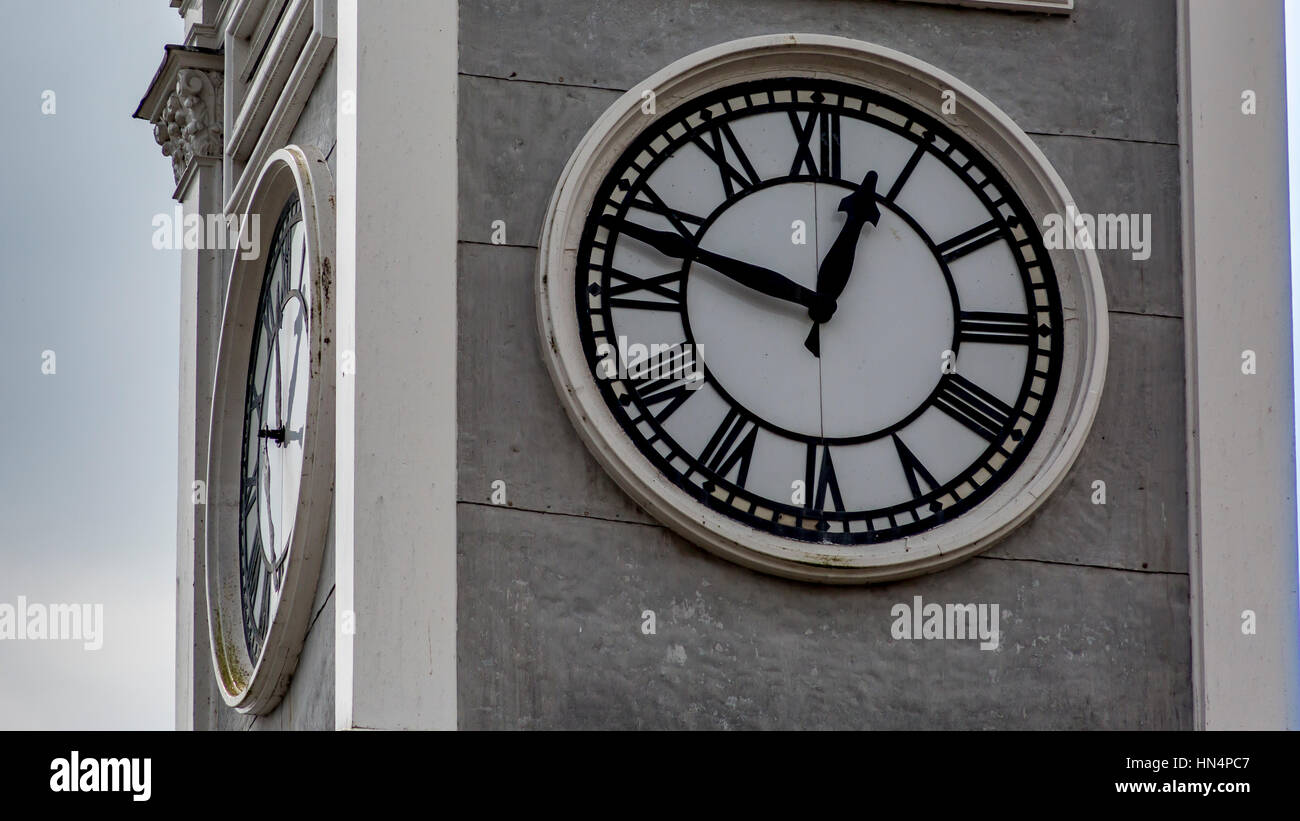 Clock face in South Molton town centre - Stock Image