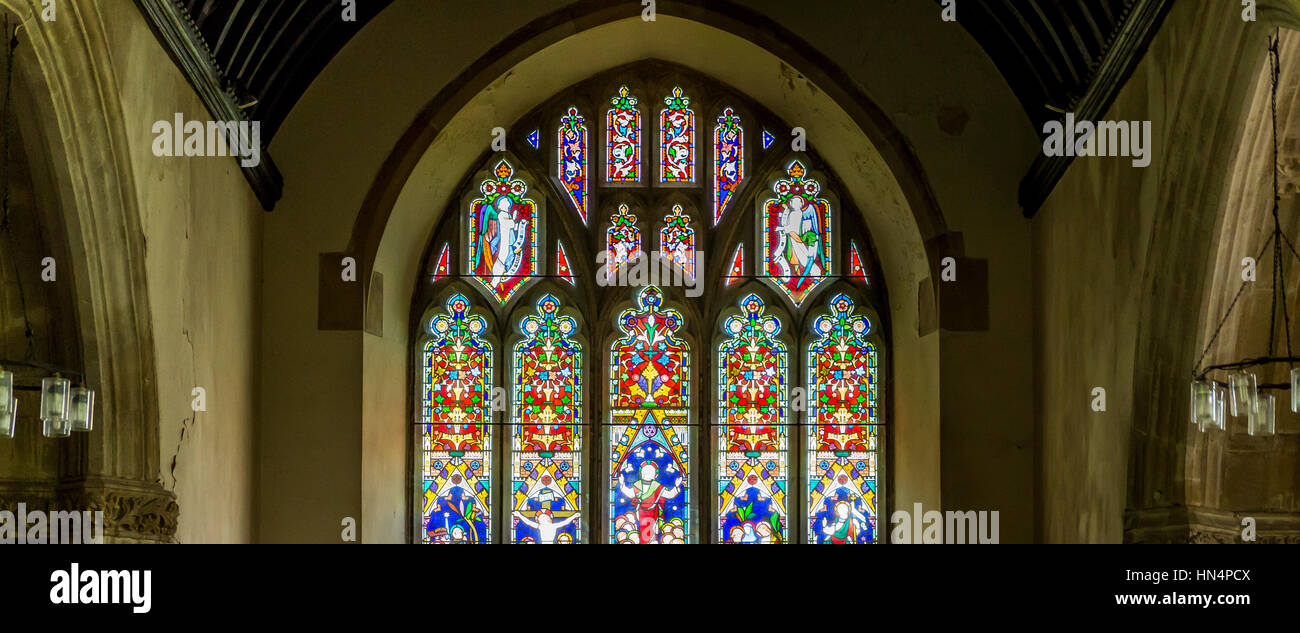Stained Glass window at St Mary Magdelene Church in South Molton - Stock Image