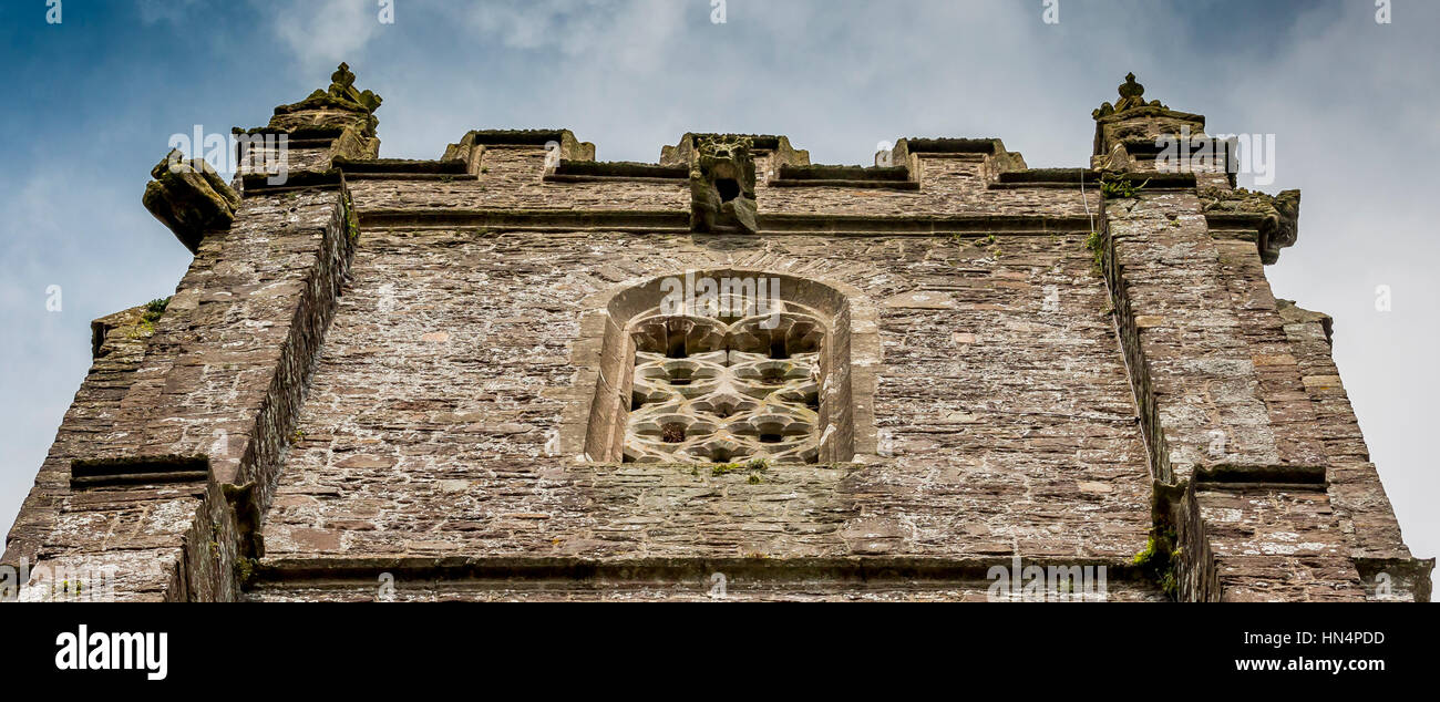 St Mary Magdelene Church in South Molton architecture It has a crenelated  parapet with finials - Stock Image