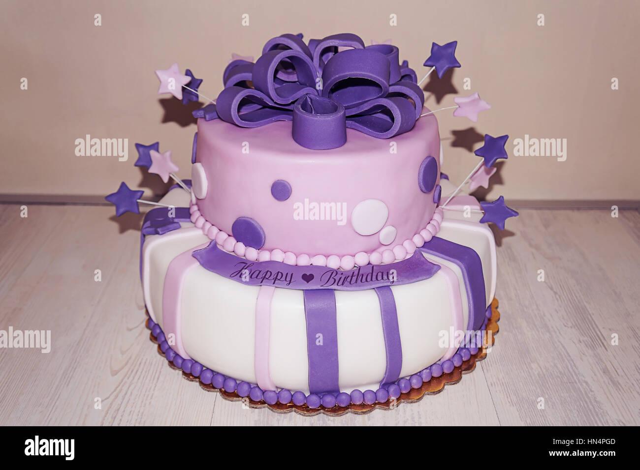 Pink Purple Fondant Birthday Cake Stars And Bow Stock Photo
