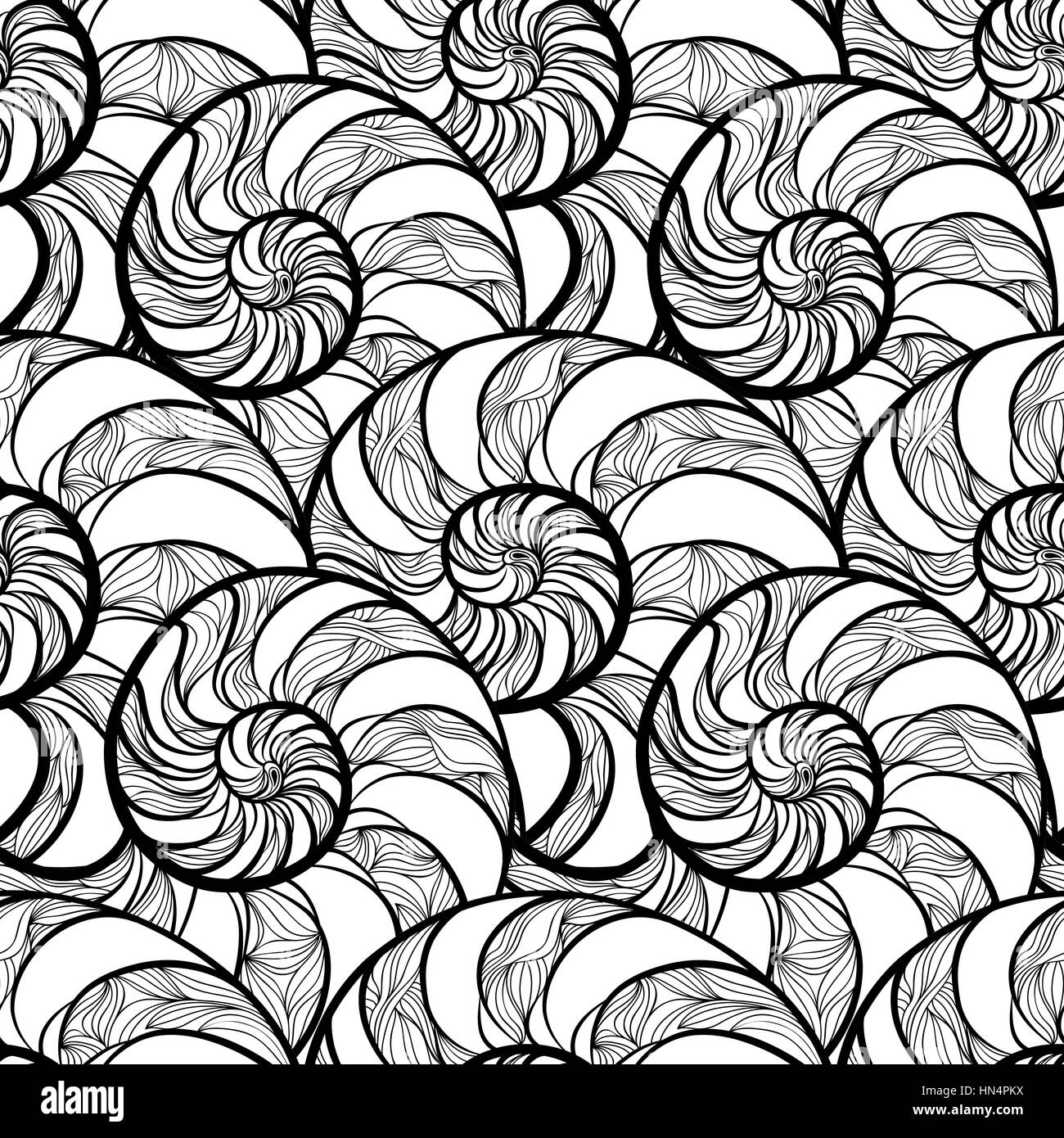 Abstract ornamental spiral seamless black and white outline pattern