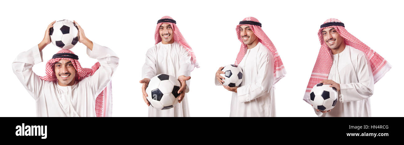 Arab businessman with football on white - Stock Image