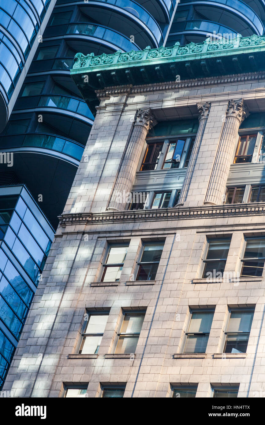 Contrast of architectural styles in downtown Vancouver - Stock Image