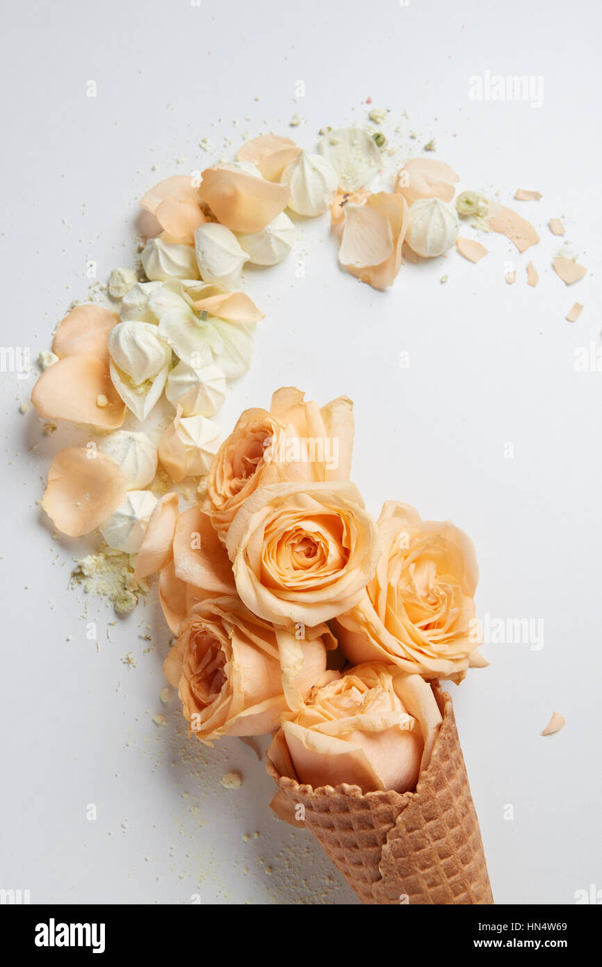 Valentine S Day Ice Cream With Orange Flowers Petals And