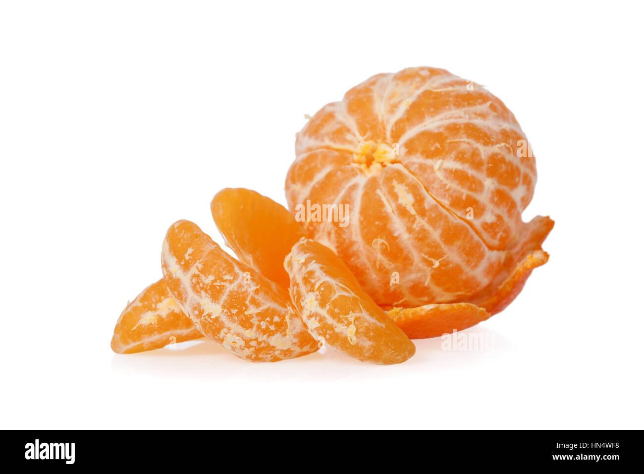 Peeled Clementine isolated on white background - Stock Image